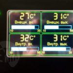 Показания входной и выходной температуры воды