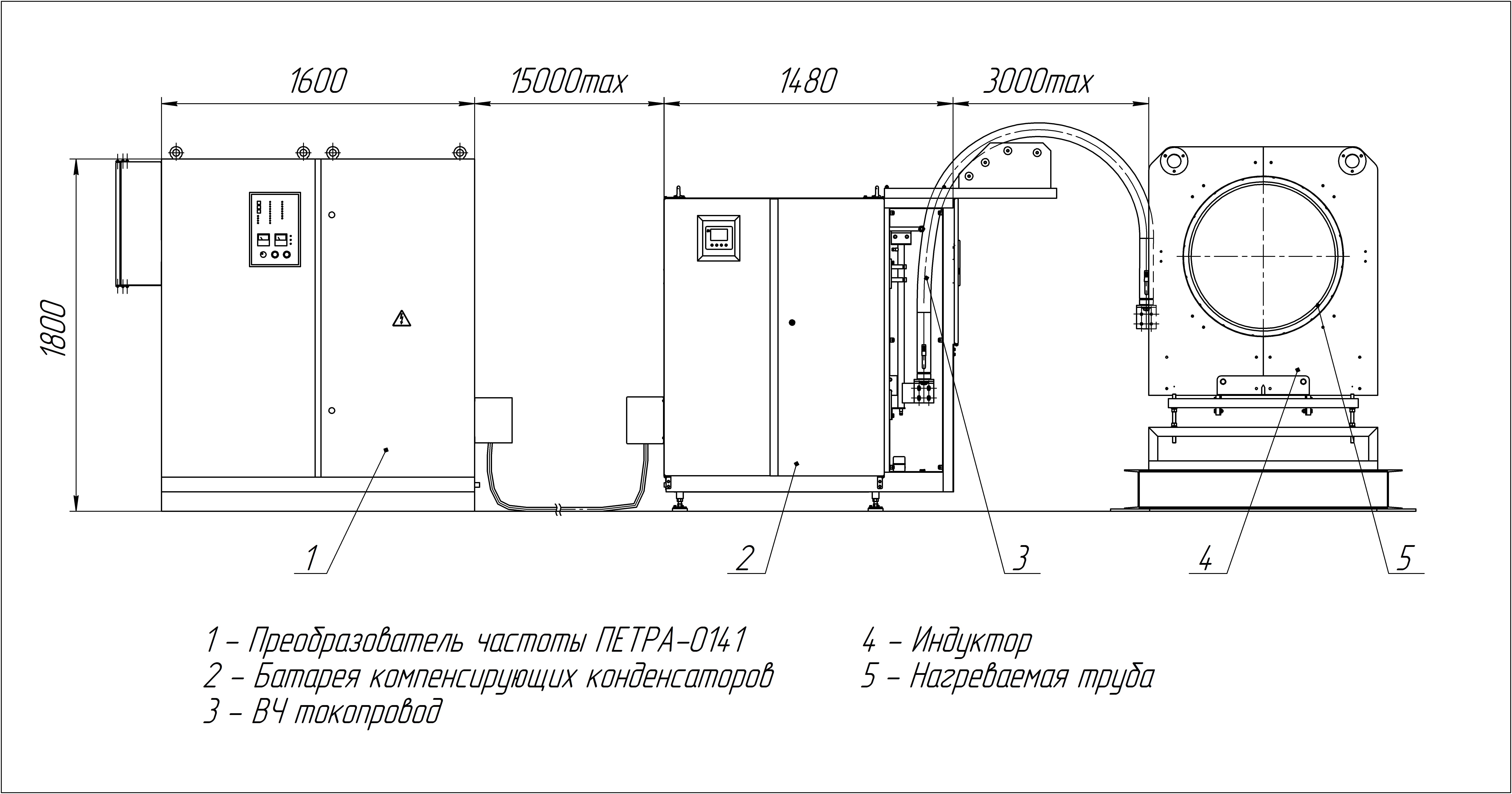 Габаритный чертеж индукционной установки для нагрева труб