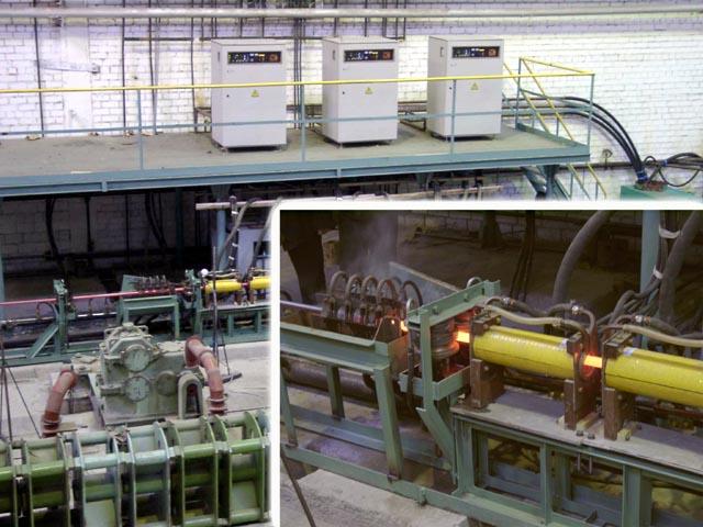 Первая очередь линии индукционного нагрева для термообработки бунтовой трубы.
